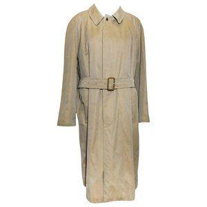 Paul Stuart Khaki Cotton Belted Raincoat Trenchcoa
